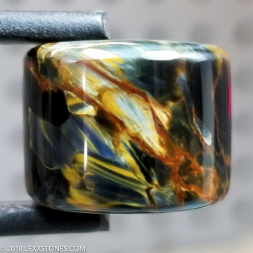 """""""Bead of Fire"""" Chatoyant Fiery Namibian Pietersite Gemstone Barrel Bead Hand Crafted By LEXX STONES 38 Carats"""