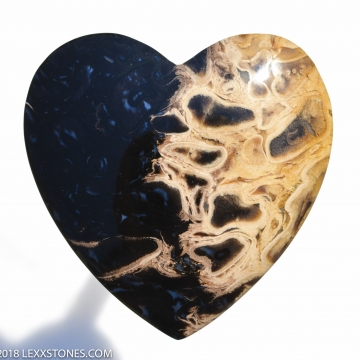 """Organic Fossilized Opalized Indonesian """"Flaming Heart"""" Palm Root Gemstone Cabochon Hand Crafted By LEXX STONES 66 Carats"""
