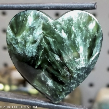 Deep Green Chatoyant Russian Seraphinite Gemstone Cabochon Hand Crafted by LEXX STONES 83 Carats