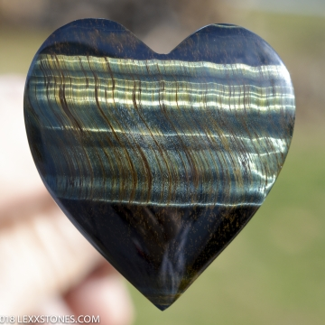 Natural Chatoyant Variegated Green Tiger Eye Gemstone Heart Cabochon Hand Crafted By LEXX STONES 73 Carats