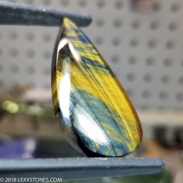 Variegated Blue Gold Tiger Eye Gemstone Cabochon Hand Crafted By LEXX STONES 48 Carats